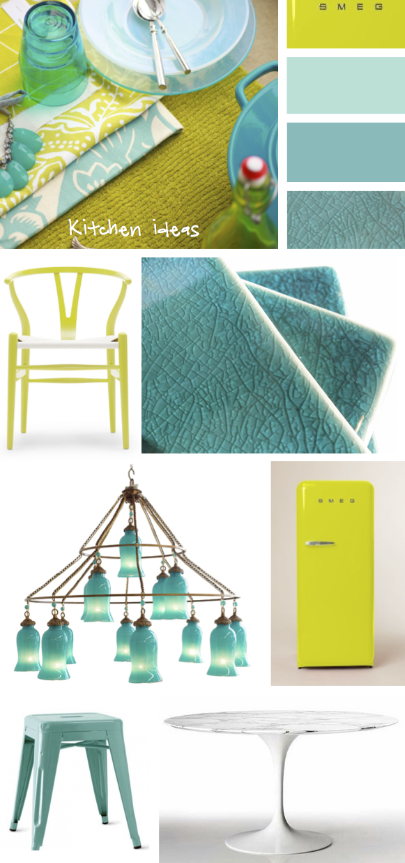 Kristina Crestin Design_Turquoise and Chartreuse Kitchen