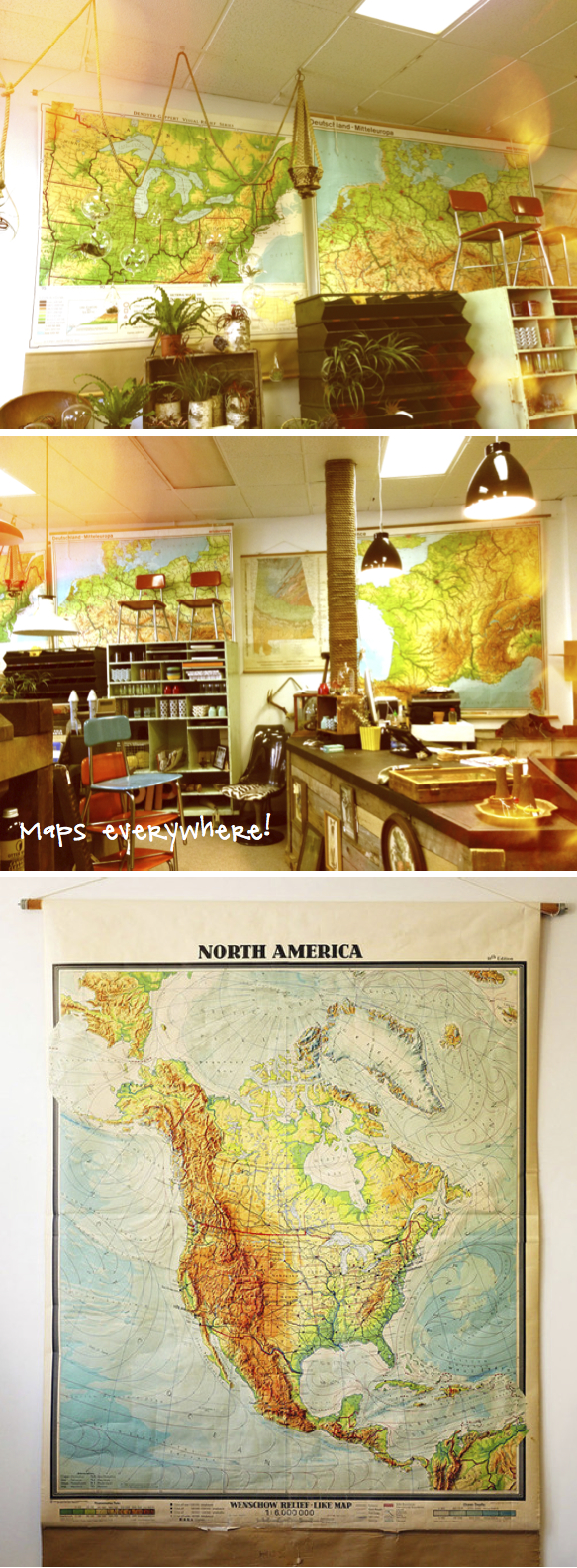 Kristina Crestin Design Diamonds and Rust vintage maps