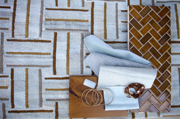 Kristina Crestin Design_Blue and camel entry materials
